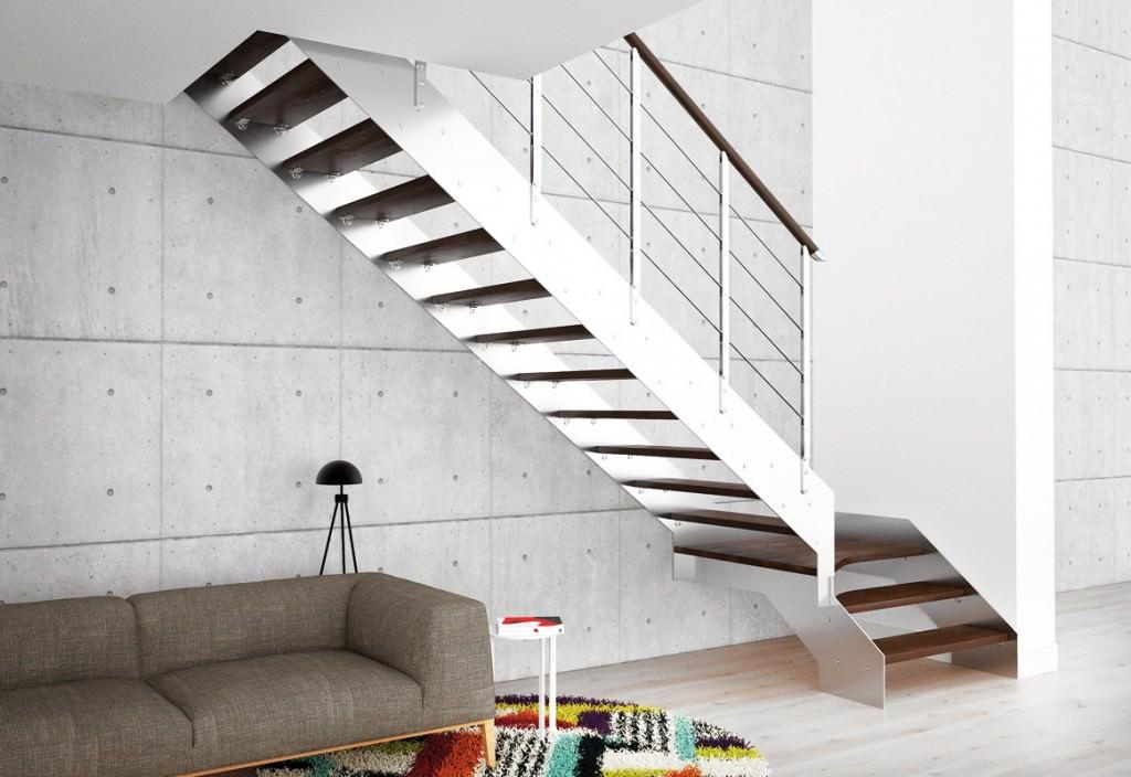 Escalera de acero autoportante rintal recta for Escaleras rintal