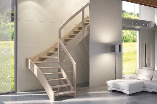 Escalera autoportante de madera maciza rintal mya for Scale interne autoportanti