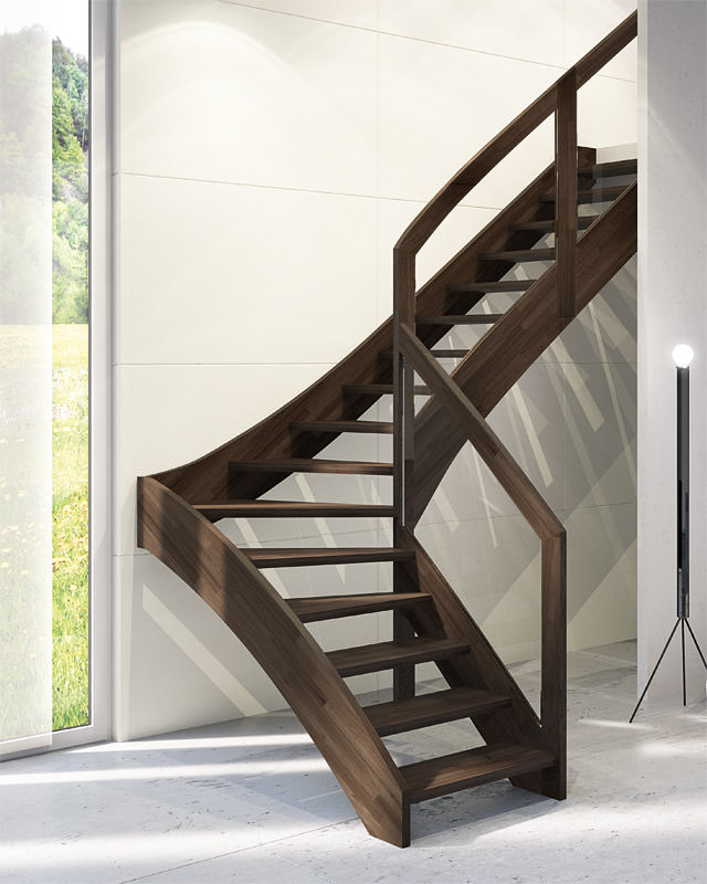 Escalera autoportante de madera maciza rintal mya for Escaleras rintal