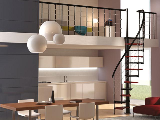 Escalera ahorradora de espacio escaleras interiores for Escaleras rintal